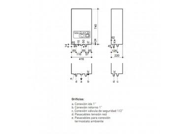 medidas caldera eléctrica BaxiRoca CML 10