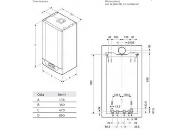 Caldera de gas de condensación Saunier Duval Isofast Condens 35