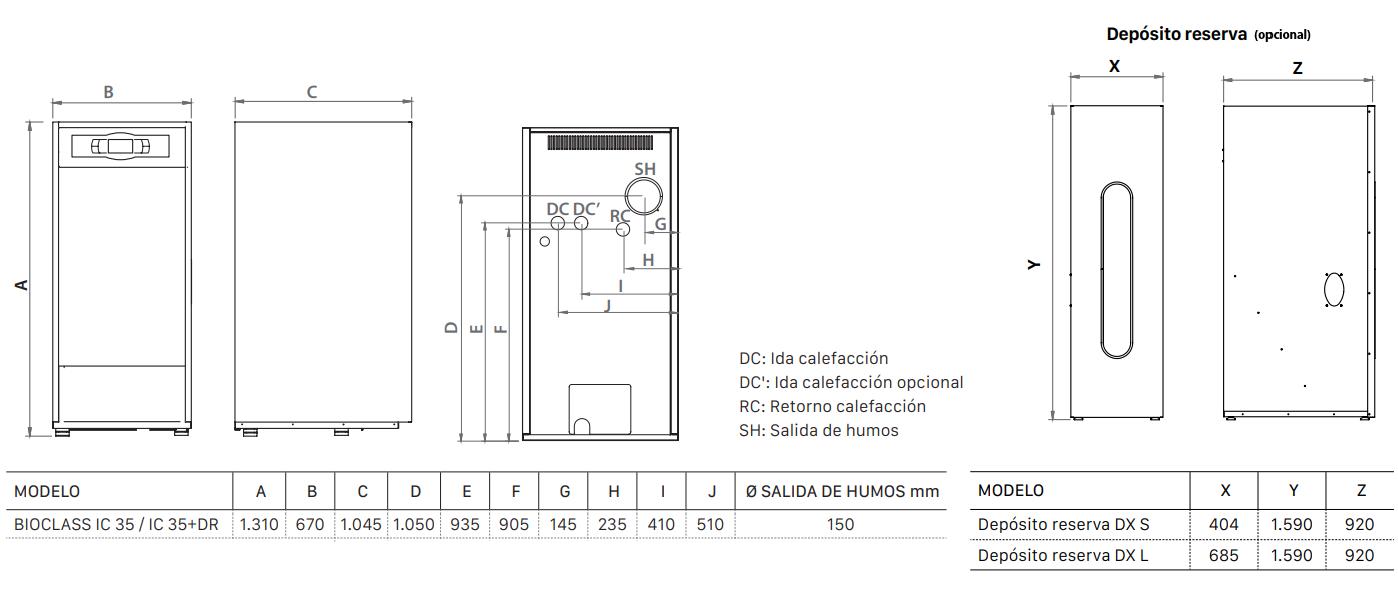 Dimensiones caldera de pellet Domusa Bioclass iC 35 con deposito de reserva