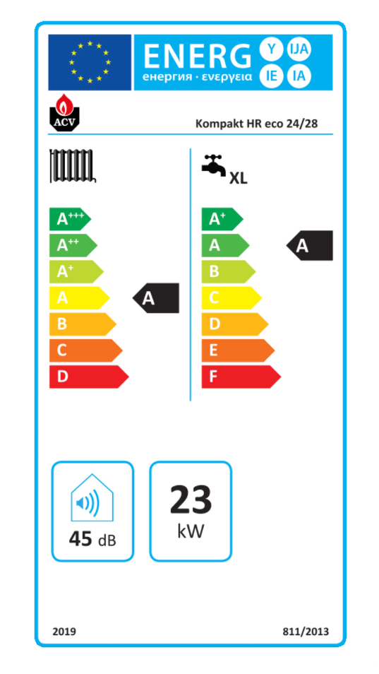 ACV Prestige Kombi Kompakt HR eco 24-28 etiqueta de eficiencia energética