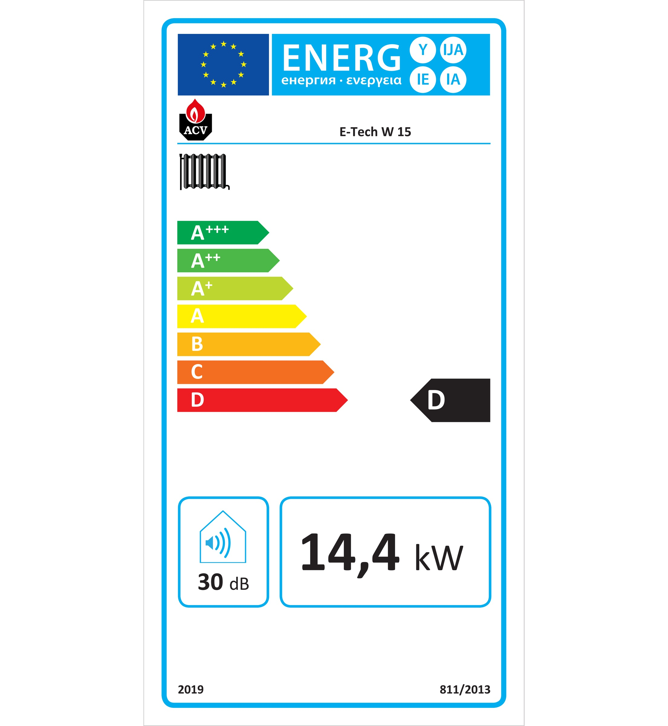 Caldera eléctrica ACV e-tech W15 etiqueta eficiencia energética