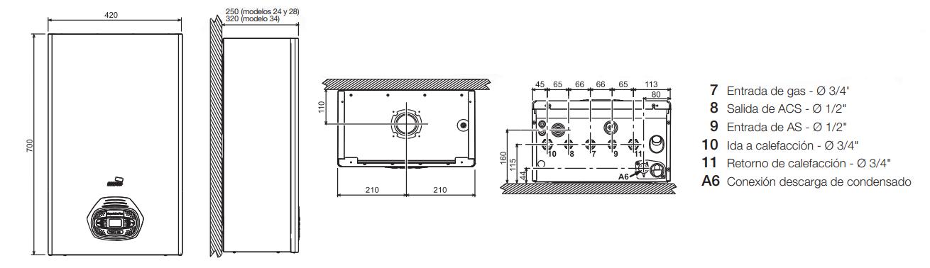 Cointra Superlative 28 C medidas instalación