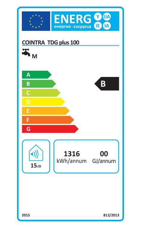 Termo Eléctrico Cointra TDG 100 etiqueta de eficiencia energética