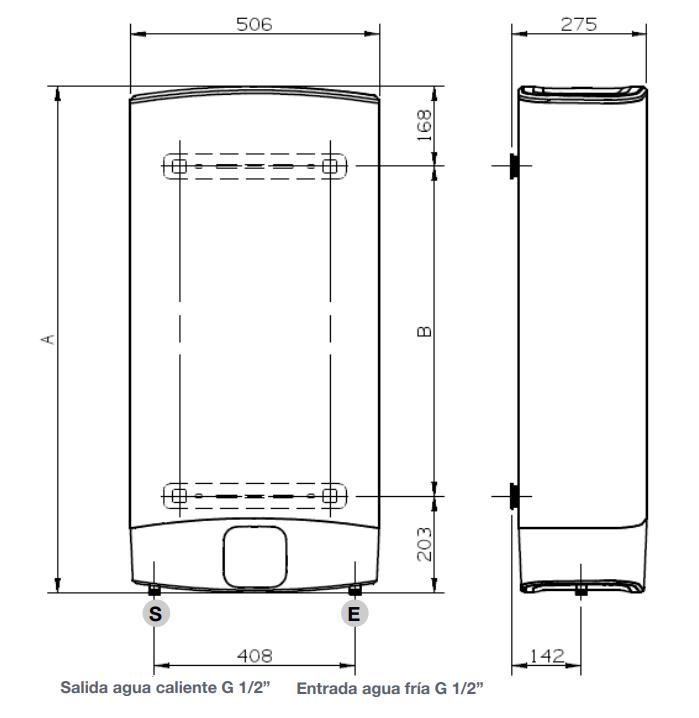 Termo Eléctrico Fleck Duo7 30 EU dimensiones