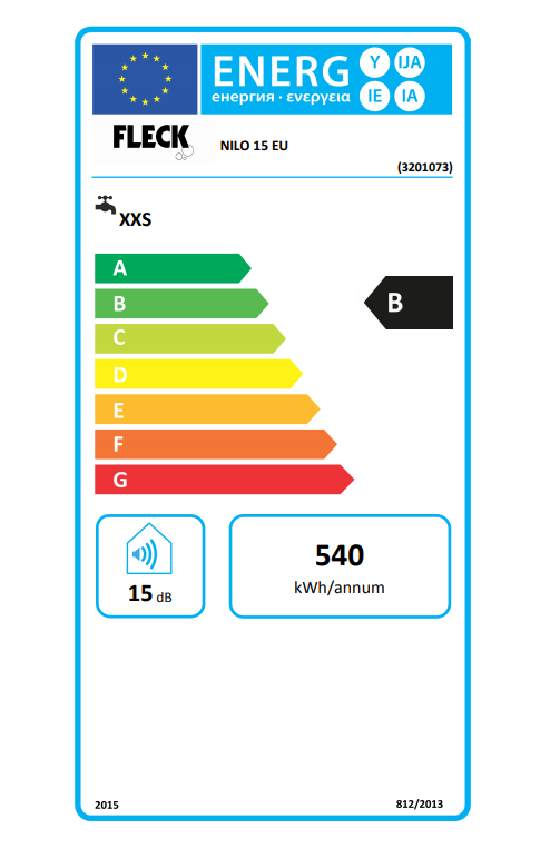 Termo eléctrico Fleck Nilo 15 EU etiqueta eficiencia energética