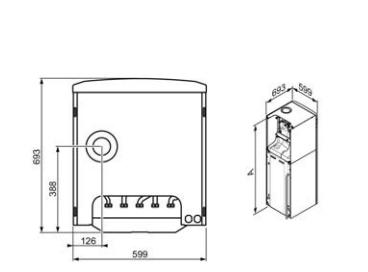Saunier Duval Duomax Condens dimensiones y medidas instalación vista desde abajo