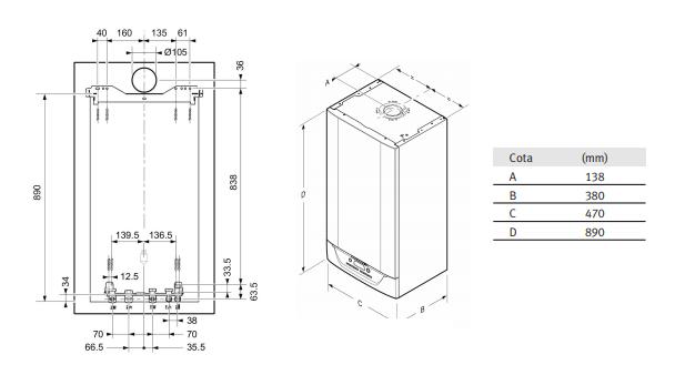 Dimensiones Saunier Duval Isofast Condens 35 B