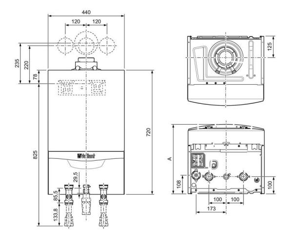 Vaillant EcoTec VM 486 ES 5-5 dimensiones y medidas